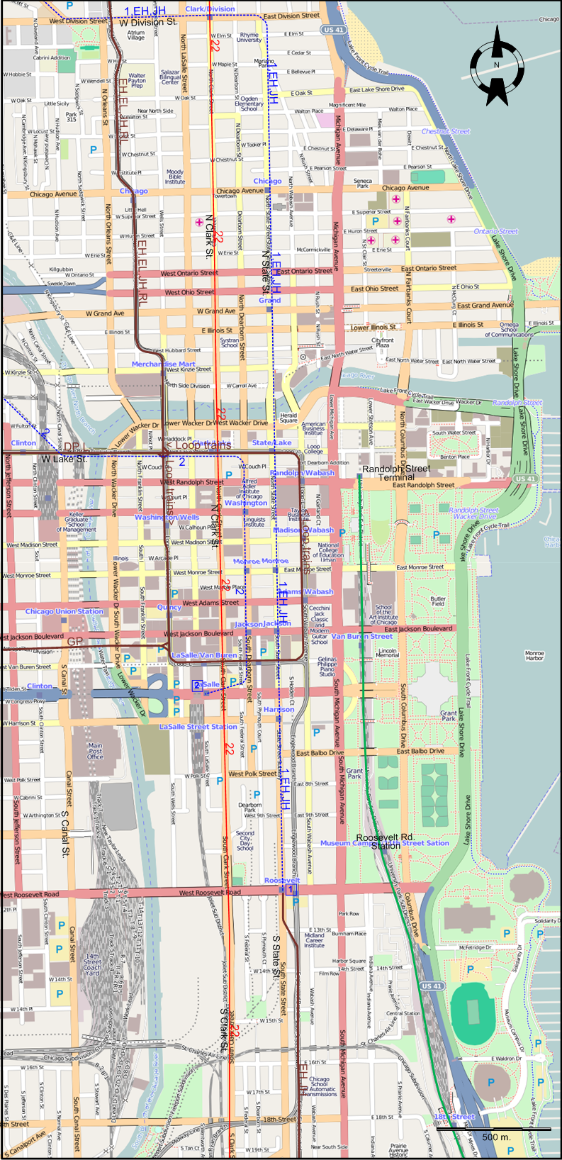 Downtown Chicago Subway Map.Chicago 1957