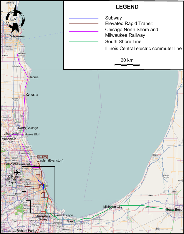 Evanston Subway Map.Chicago 1957