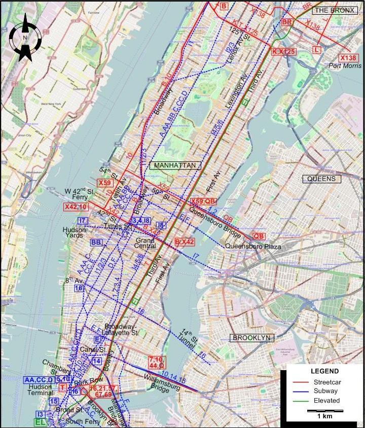 Manhattan Q Subway Map.New York 1946