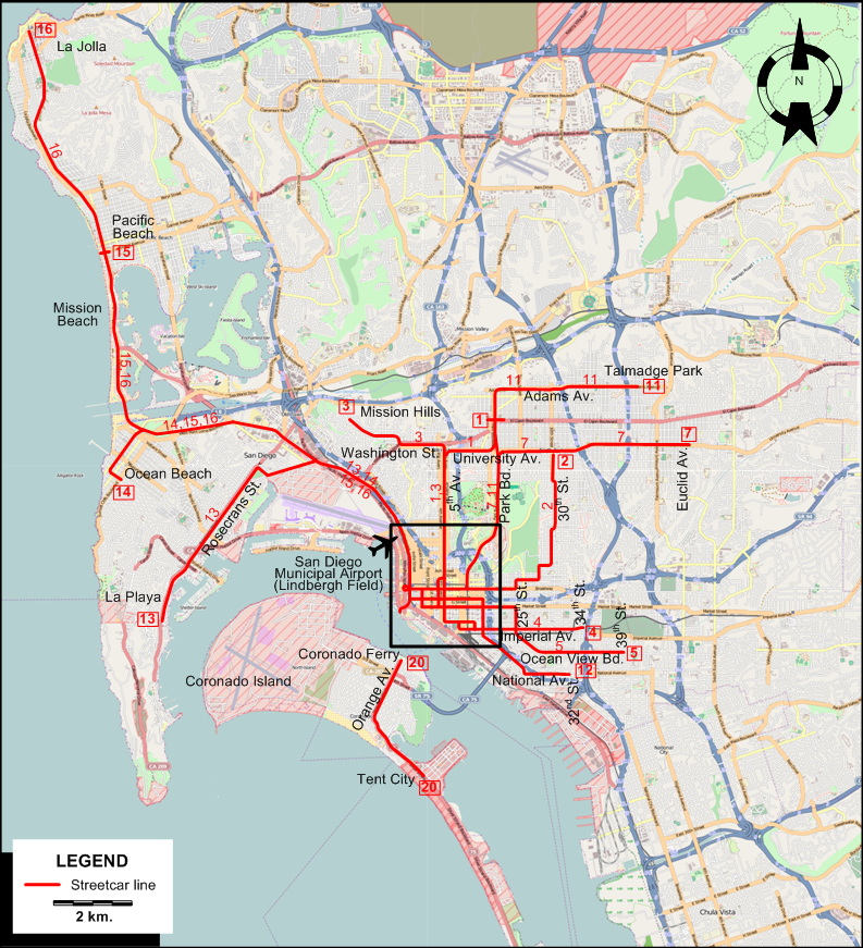 Trolley San Diego Map.San Diego 1930